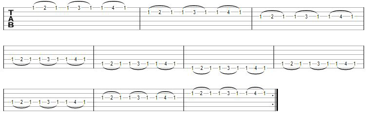 tecnicas de guitarra exercicio hammer on pull off 1