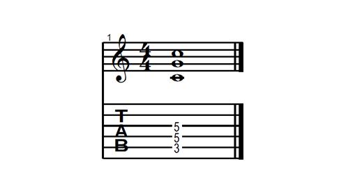Power Chord Oitavado de Dó - Exemplificando em partitura e tablatura